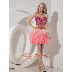 Customize Watermelon Cocktail Dress Red A-line Sweetheart Organza... via Polyvore
