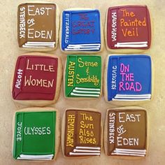 Decorated book cookies