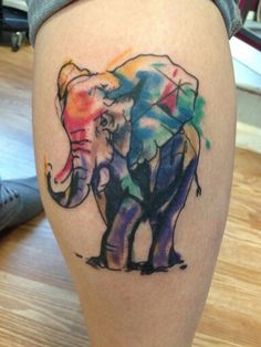 My watercolor elephant tattoo (: