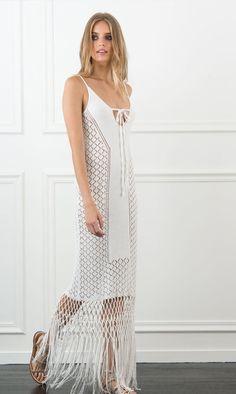 Rachel Zoe Jess Fringed Knit Dress in white
