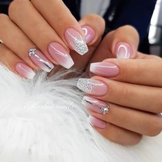 Pink Glitter Nails Light Pink Glitter Nails Pattern Beautiful Light Colors to Your Nails For Wedding Annyvarsary Party Give Unique Look To Your Nail With Light Pink Glitter Nails For Wedding. Sexy Nail Art, White Nail Art, Sexy Nails, Cute Nails, Pretty Nails, Black Nail, Pink Glitter Nails, Sparkly Nails, White Nail Designs