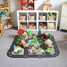 ROAD FOR AYDEN A little Christmas village! I can't recommend the waytoplay road enough - every little person needs one of these under the Christmas… Baby Play, Baby Toys, Kids Toys, Play Spaces, Kid Spaces, Small Spaces, Kids Wall Decor, Playroom Ideas, Montessori Playroom