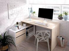 Bedroom Corner, Bedroom Desk, Kids Bedroom Furniture, Computer Desk In Bedroom, Home Office Design, Home Office Decor, Home Decor, Bauhaus, Study Room Decor