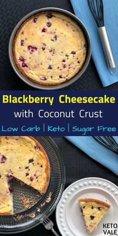 Low Carb Sugar Free Blackberry Cheesecake with Coconut Crust for Keto Diet via @ketovale Keto Diet For Beginners, Ketogenic Diet Plan, Foods, Wellness, How To Plan, Nutrition, Easy, Ketogenic Diet Meal Plan, Food Food