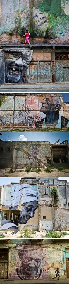 JR and Cuban-American artist José Parlá - 'The Wrinkles of the City' (photographed and recorded 25 senior citizens who had lived through the Cuban revolution and creating portraits). In Havana, Cuba.