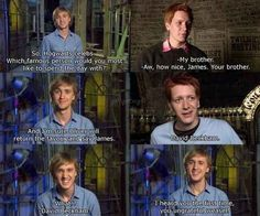 "When the Phelps twins had jokes and Tom Felton had a very Malfoy-esque response. 18 Photos That Prove The ""Harry Potter"" Actors Are Actually Their Characters Mundo Harry Potter, Harry Potter Actors, Harry Potter Jokes, Harry Potter Universal, Harry Potter Fandom, Harry Potter Interviews, Fred Und George Weasley, Hogwarts, Slytherin"