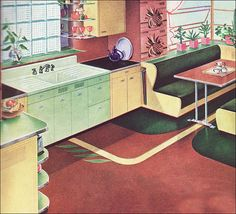 1941 Kitchen by American Standard from Better Homes and Gardens 1940s Kitchen, Retro Kitchen Decor, Vintage Kitchen, Kitchen Design, Retro Kitchens, Kitchen Nook, Dream Kitchens, Kitchen Layout, Kitchen Ideas