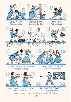 One, Two, Buckle My Shoe | 1947 Print - One, Two, Buckle My Shoe Children's Nursery Rhyme Vintage ...