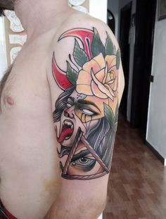 Neotrad done by Traditional Tattoo, Skull, Tattoos, Tattoo Traditional, Tatuajes, Traditional Style Tattoo, Tattoo, Japanese Tattoos, A Tattoo