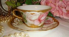 Haviland Limoges - Chocolate Pot Set - Hand Painted - Roses - Artist from onlyfinelines on Ruby Lane