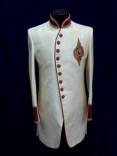 Cream Sherwani, Ethnic Men's wear, Indian traditional Kurta, Wedding dress for Men, Custom Made
