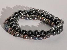 10 Off 3 in one Hematite and Grey Freshwater by BlueBreezeJewelry, $26.99