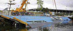 Organização dos Jogos substitui rampa na Marina da Glória após ventos fortes a destruírem Foto: Reuters