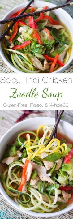 A super flavorful zoodle bowl filled with chicken and veggies! This spicy Thai chicken zoodle soup is a tasty way to eat healthy! Gluten-free, Paleo, and Whole30 compliant!