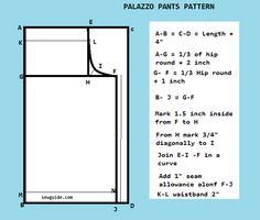 Risultati immagini per palazzo pants patterns free Dress Sewing Patterns, Sewing Patterns Free, Clothing Patterns, Sewing Tutorials, Sewing Tips, Sewing Projects, Sewing Men, Skirt Patterns, Sewing Ideas