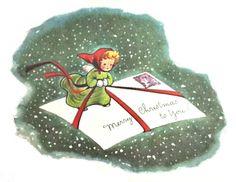 Vintage Unused Fravessi Xmas Greeting Card Sweet Angel On An Envelope Xmas Greeting Cards, Xmas Greetings, Vintage Greeting Cards, Christmas Cards, Christmas Mail, Christmas Images, Vintage Holiday, Merry Christmas, Christmas Glitter