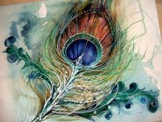 Gorgeous Peacock watercolor(?) found on Google.      Whoever the artist is, you are amazing. Teach me your ways. <3