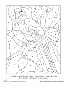 First Grade Color by Number Worksheets: Color-By-Number: Parrot. Can use as applique template Fall Coloring Pages, Free Coloring, Adult Coloring Pages, Coloring Pages For Kids, Coloring Books, Coloring Worksheets, Alphabet Coloring, Stained Glass Birds, Stained Glass Patterns