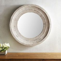 Transcending both time and place, the farmhouse aesthetic never goes out of style. Incorporate this look into your home decor with our rustic mirror, crafted of fir with a natural whitewashed finish. Farmhouse Remodel, Farmhouse Style Kitchen, Modern Farmhouse Kitchens, Modern Rustic Decor, Rustic Farmhouse Decor, Rustic Design, Rustic Mirrors, Farmhouse Mirrors, Round Mirrors