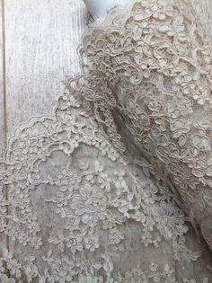 French Corded White Lace Fabric in Ivory