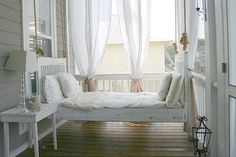 I saw this and it occurred to me: I have a porch. I have a bed. Why do I not have a Swinging Porch Bed? these look like the best place to nap ever! Shabby Chic Porch, Bed Swing, Beautiful Bedrooms, Porch Swing Bed, Home, Porch Furniture, Beautiful Bedroom Designs, Sleeping Porch, Porch Bed
