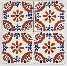 "MEXICAN TILE HAND PAINTED MEASURES 4"" x 4""  1/4"" THICKNESSMADE IN MEXICO   $1.25 each(SIZE AND COLOR MAY VARY) THIS ITEMS ARE HAND PAINTED SOME VARIATION IN COL"