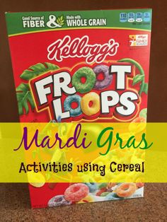Mardi Gras crafts for kids that are easy and inexpensive to do using cereal! I also have a great dessert, King cupcakes, you can make with your kids.