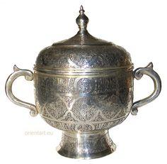 antik-look orient Massive Neusilber islamic persian Dose Teedose Gefäß   No:G