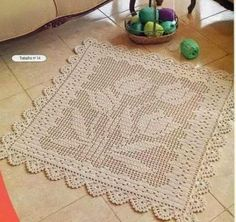 Filet crochet rug -has graphs Crochet Doily Patterns, Thread Crochet, Crochet Doilies, Crochet Flowers, Crochet Stitches, Crochet Carpet, Crochet Home, Irish Crochet, Crochet Rugs