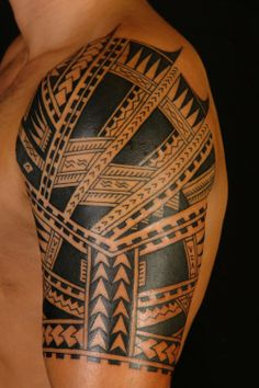 Polynesian Half Sleeve Tattoos #tattoos #tattoodesigns #polynesiantattoodesigns  http://tattoodesignsdo.com/polynesian-tattoo-designs/