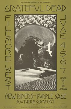 June Grateful Dead, New Riders of the Purple Sage, Southern Comfort. Fillmore West, San Francisco, CA. Poster art by David Singer. Sound Of Music, Music Is Life, Band Posters, Music Posters, Phil Lesh And Friends, Music Album Covers, Book Covers, Fillmore West, Jerry Garcia Band