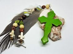 Lime Green Cross car accessory Green cross by GreenCloverCrafts
