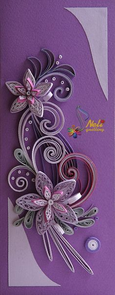 Purple Quilling Card - Neli Quilling Art