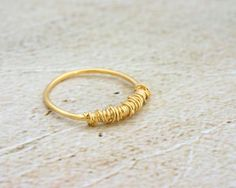 Gold Thin Wire Wrapped Stacking Ring, 14K Gold Plated Stackable Ring, Urban Trendy Ring, Narrow Stack Ring, Stackable Fashion Ring