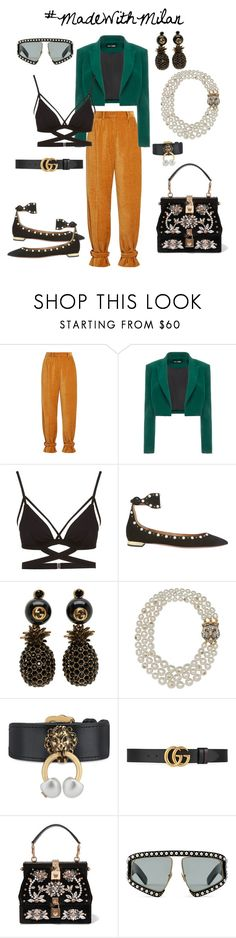 """'too early for velvet' X Made With Milan"" by jaydamilan on Polyvore featuring Hillier Bartley, Dalood, Cosabella, Aquazzura, Gucci and Dolce&Gabbana"