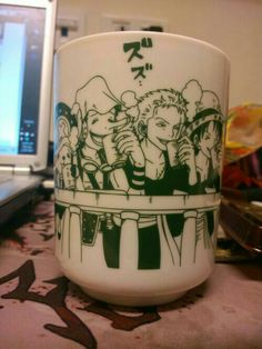 Chopper, Zoro, Usopp, Luffy, funny, drinking, tea, text, One Piece, mug, cup; Anime Stuff I Want