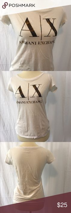 Armani Exchange AX logo tee White t shirt with AX logo printed in gold. Brand new without tags. Soft and beautiful short sleeve tee, size XS. Make an offer! A/X Armani Exchange Tops Tees - Short Sleeve