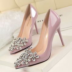 Fashion Patent Leather Bridal Shoes Pumps Pointed Toe High Heels Rhinestone