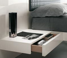 WALL NIGHTSTAND with DRAWER | This modern nightstand is simple yet perfect for contemporary sets. Add some style to this furniture piece with bold decoration props and make your bedroom looks like that interior design magazine covers | http://masterbedroomideas.eu #luxuryfurniture #interiordesign #masterbedroomideas