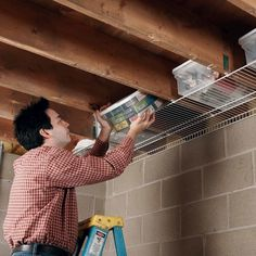 Joist Space Storage Diy Storage Shelves, Tote Storage, Attic Storage, Storage Hacks, Storage Ideas, Wire Shelving, Garage Shelving, Diy Garage Storage, Basement Storage