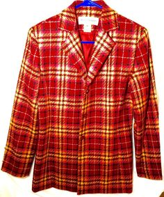 Rena Rowan Jacket Blazer Plaid Sz Lined Suit Wool Women Size 6 Multicolor #RenaRowan #BasicJacket #Formal