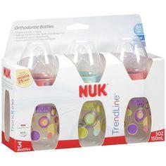 NUK Trendline 5 Oz Orthodontic Bottles, 3ct