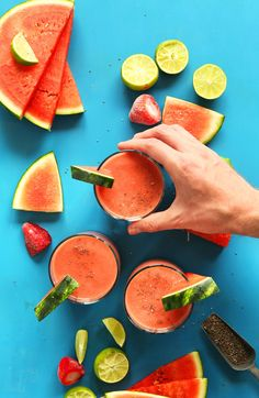 Simple, 6 ingredient watermelon smoothie with frozen strawberries, fresh watermelon, lime and chia seeds! Healthy, refreshing, and perfect for summer!
