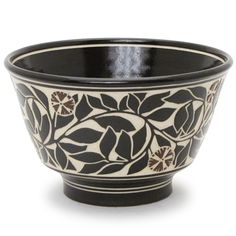 Medium stoneware bowl with carved design by Katherine Hackl - The Clay Studio