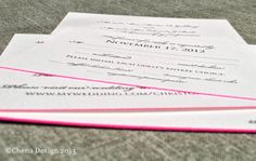 #SavoyPaper wedding invitations with a pink edge