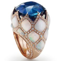 FortressChantecler Gioielleria  AddThis Sharing Buttons Fortress  Anello matelassè in oro rosa, zaffiro blu cuscino, opale e diamanti