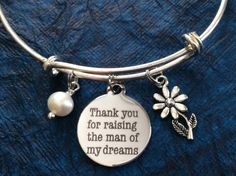 Thank you for Raising the Man of My Dreams! Perfect Mother In Law Gift for Wedding or Anytime! Stainless Steel Round Charm with Real Wire wrapped Freshwater Pearl and Silver Plated Daisy Charm secured