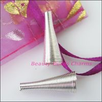 10Pcs Speaker Tube Connectors Bead Caps Charms 9x22.5mm Silver Plated