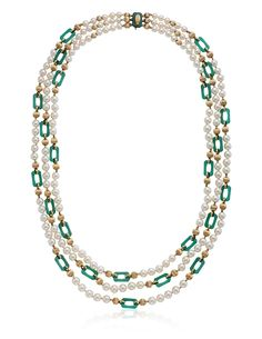 VAN CLEEF & ARPELS CULTURED PEARL AND CHRYSOPRASE NECKLACE