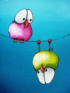 Whimsical Birds on Canvas Gallery for Lucia Stewart Watercolor Cards, Watercolor Paintings, Watercolors, Happy Paintings, Art Fantaisiste, Whimsical Art, Art Plastique, Bird Art, Doodle Art